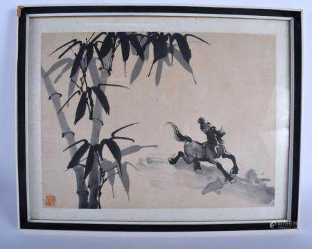 AN EARLY 20TH CENTURY CHINESE INK WORK WATERCOLOUR late Qing/Republic, painted with a horse amongst flowering bamboo. Image 40 cm x 28 cm.