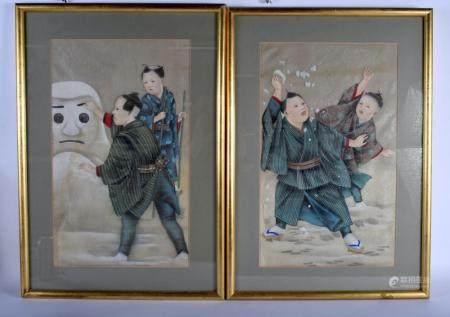 A RARE PAIR OF 19TH CENTURY JAPANESE MEIJI PERIOD PAINTED SILK WATERCOLOURS modelled building snowmen. Image 52 cm x 30 cm.
