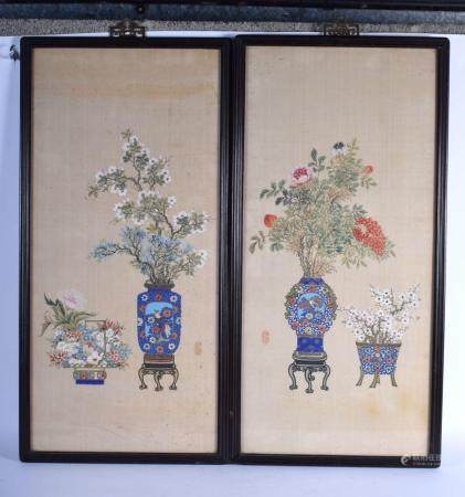 Chinese School (19th Century) Pair of Watercolours, Still Lives, precious objects. Image 70 cm x 40 cm.