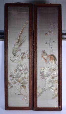 A PAIR OF 19TH CENTURY CHINESE SILKWORK EMBROIDERED PANELS depicting birds within landscapes. Silk 105 cm x 20 cm.