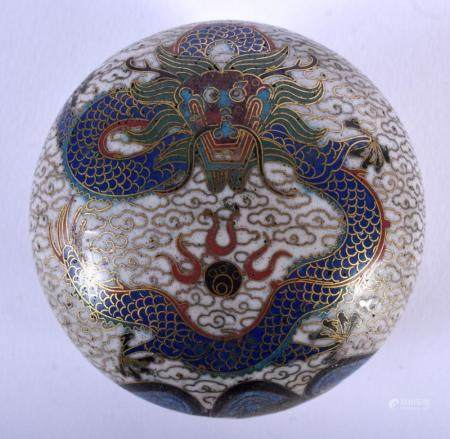 AN EARLY 20TH CENTURY CHINESE CLOISONNE ENAMEL BOX AND COVER late Qing/Republic, decorated amongst clouds. 6.25 cm diameter.