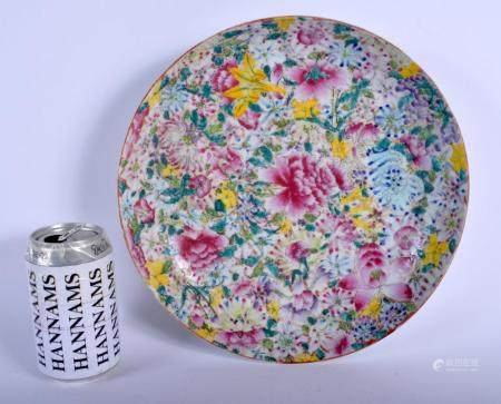 AN EARLY 20TH CENTURY CHINESE FAMILLE ROSE MILLIFIORE PORCELAIN DISH late Qing/Republic, painted with flowers. 27 cm diameter.
