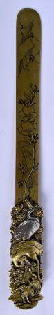 A 19TH CENTURY JAPANESE MEIJI PEIROD SILVER INLAID LETTER OPENER modelled within landscapes. 30 cm long.