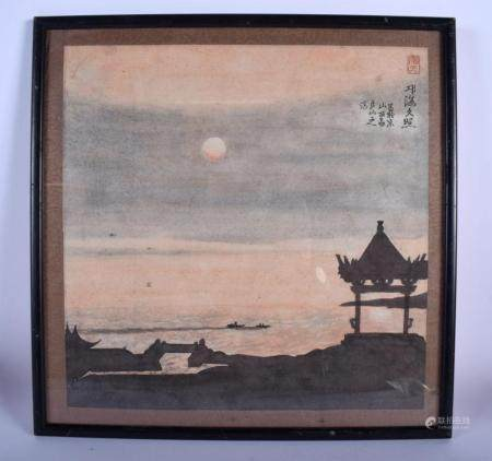 AN EARLY 20TH CENTURY JAPANESE MEIJI PERIOD WATERCOLOUR painted with boats at sea. Image 33 cm square.
