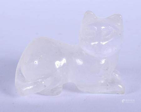 A LATE 19TH CENTURY CHINESE CARVED ROCK CRYSTAL FIGURE OF A CAT Qing, modelled recumbent 3.5 cm x 3 cm.