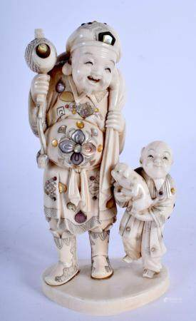 A 19TH CENTURY JAPANESE MEIJI PERIOD SHIBAYAMA INLAID IVORY FIGURE OF A BUDDHA modelled with a boy clutching a puppy. 16 cm x 7 cm.