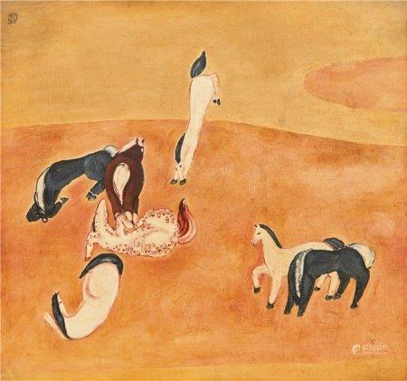 常 玉(1895~1966)  1930年代初 群 马 纤维板油画