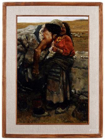 陈丹青(B.1953)  1980年作 西藏组画·牧羊人 板上油画