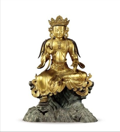 明宣德 御制铜鎏金自在观音坐像