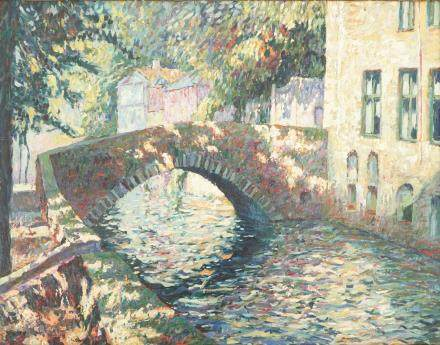 Charles Verbrugghe, a pointillist oil on panel, Un pont à Bruges