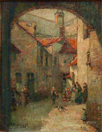 Charles Verbrugghe (Bruges, 1877-1974), A view in Lier, oil on panel