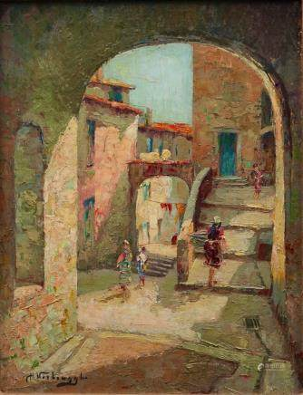 Charles Verbrugghe (Bruges, 1877-1974), A view in Menton, oil on panel
