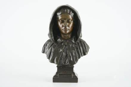 "Gustave Pickery (1862-1921), A female bust inscribed ""Brugghe"", bronze group"