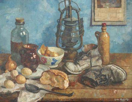 Guillaume Michiels (1909-1997), a still life with a marine lantern, oil on canvas in profiled frame