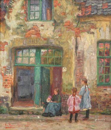 Emile Rommelaere (1873-1961), a view in Bruges, oil on canvas, dated 1916