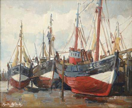 Guillaume Michiels (1909-1997), fishing boats at the Zeebrugge coast, oil on canvas