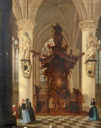 Victor-Jules Génisson (1805-Bruges, 1860), a church interior, oil on canvas
