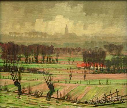 Achiel Van Sassenbrouck (1886-1979), A rural view near Tielt, oil on canvas
