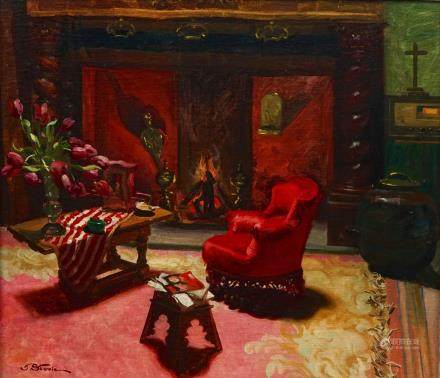 José Storie (1899-1961), Interieur with a fireplace (Le Foyer), oil on canvas