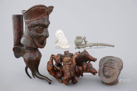 A set of 5 various African and European pipe heads, 19/20th C.