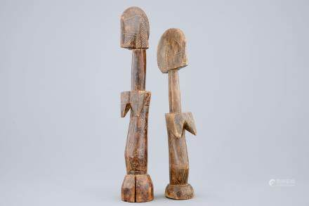 Two African carved wood figures of fertility dolls, Mossi, Congo, mid 20th C.