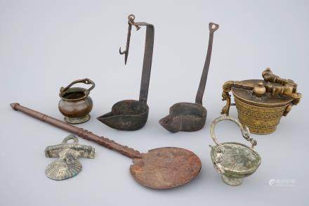A lot of early metalwork: a set of nested weights, holy water bucket, ...