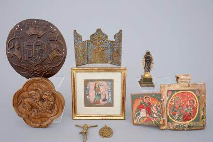A set of various religious items, incl. a miniature on vellum, travel icons, etc..