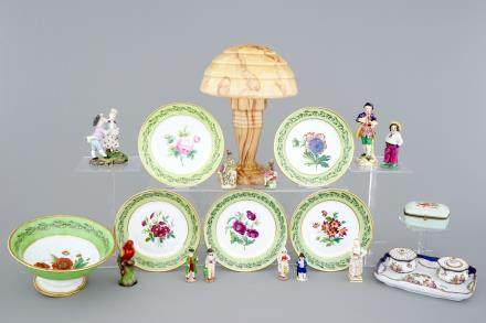 A set of botanical subject plates, perfume flasks and various other porcelain items, 19/20th C.