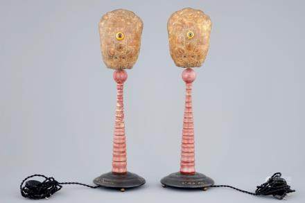 A pair of tall Darwin-lamps with turtle shells and a glass eye, 2nd quarter 20th C.