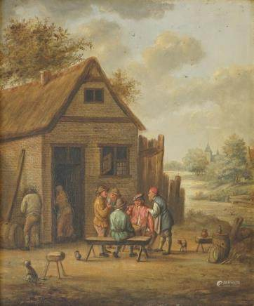 A pair of folk scenes near a tavern, oil on panel, early 19th C.