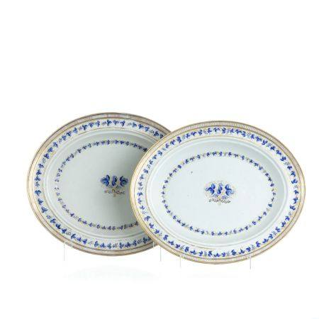 Pair of deep Chinese porcelain platters, Jiaqing