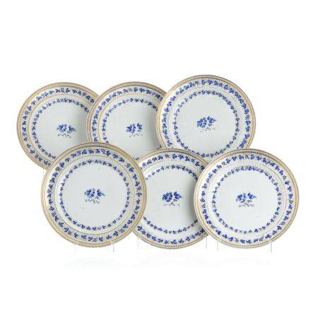 Set of six plates in Chinese porcelain, Jiaqing