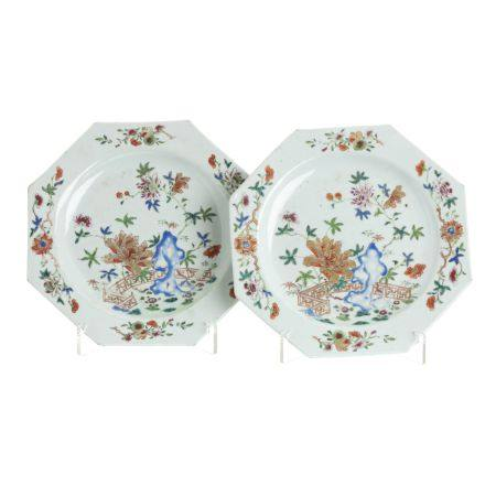 Pair of octagonal plates in Chinese porcelain, Qianlong