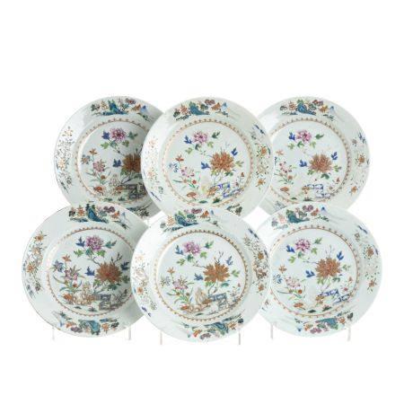 Set of six Chinese porcelain plates, Qianlong