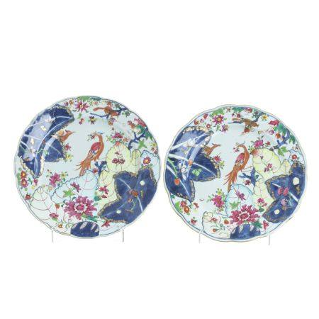 Pair of 'tobacco leaf' dishes in Chinese porcelain, Qianlong
