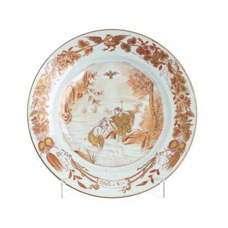 'Baptism of Christ' plate in Chinese porcelain, Qianlong