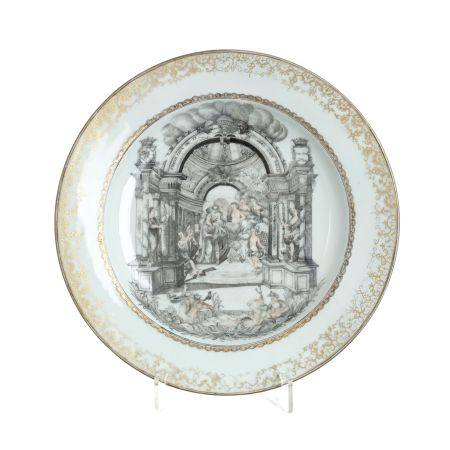 European subject Chinese Porcelain Wedding Celebration plate, Qianlong