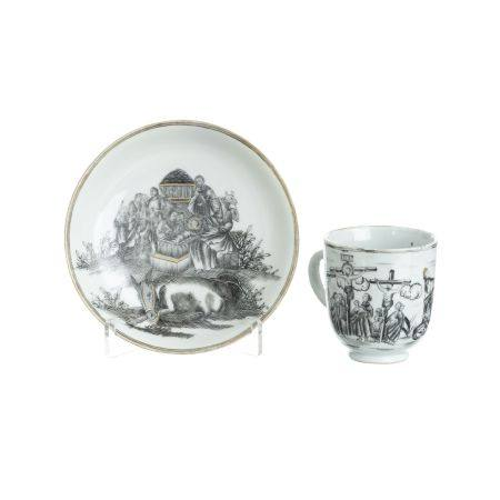 Chinese porcelain 'Life of Christ' saucer and a cup, Qianlong