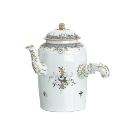 Chinese porcelain grisaille chocolate pot, Qianlong
