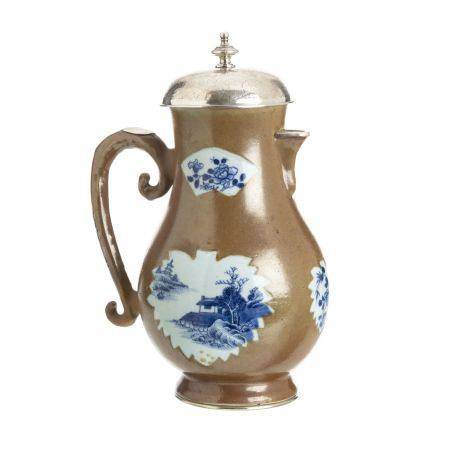 Large Chocolate Family coffee pot, Qianlong