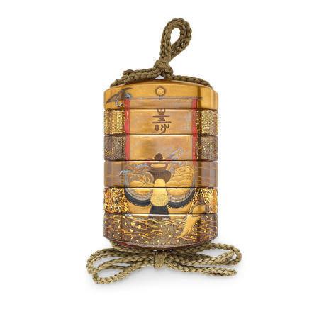 Kajikawa lineage (19th century) A fine five-case lacquer inroEdo period (1615-1868), 19th century