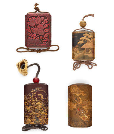 A GROUP OF four four-case INRO Edo period (1615-1868) or Meiji era (1868-1912), 19th/early 20th century