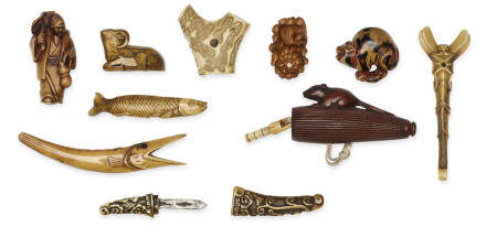 A group of ten wood and stag-antler netsuke Edo period (1615-1868) or Meiji era (1868-1912), 19th/20th century, and Showa era (1926-1989), late 20th century