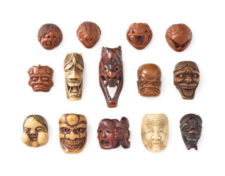 A group of 14 mask netsuke of various materials Edo period (1615-1868), Meiji (1868-1912), Showa (1926-1989), or Heisei (1989-2019) era, 19th/20th century