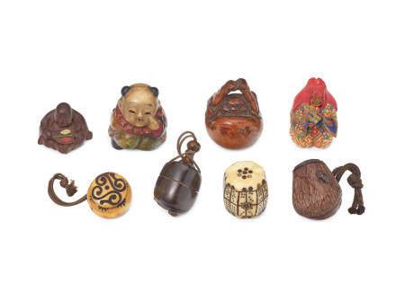 A group of eight netsuke of various materials Meiji (1868-1912), Taisho (1912-1926), or Showa (1926-1989)era, late 19th/20th century