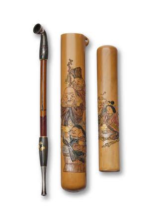 Kano Tessai (1845-1925) A carved bamboo kiseruzutsu (pipe case)Meiji (1868-1912) or Taisho (1912-1926) era, early 20th centuryThe pipe by Mitsunaga, Edo period (1615-1868), 19th century