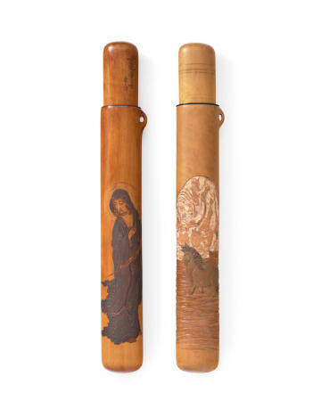 Kano Tessai (1845-1925) Two wood kiseruzutsu (pipe cases)Meiji (1868-1912) or Taisho (1912-1926) era, late 19th/early 20th century