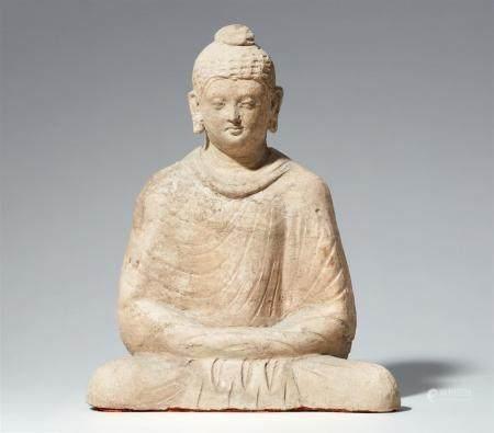 A Hadda stucco wall fragment of a Buddha Shakyamuni. Afghanistan. 3rd/4th century