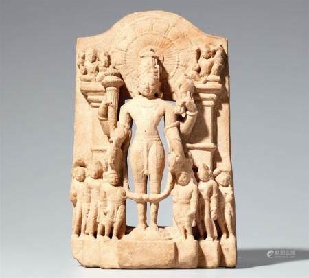 A small Indian sandstone stele of Vishnu. 11th century