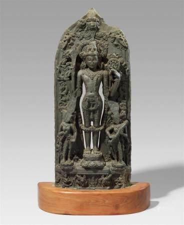 A Pala-style blackened stone stele of Vishnu. Northeastern India, Bihar, possibly 12th century